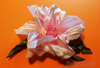 Цветы из лент: розовый гибискус МК