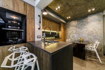 Дизайнерское оформление кухни-гостиной 22 кв.м