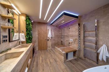 Дизайн большой ванной комнаты 12 кв. м.