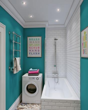 Бирюзовый цвет в ванной комнате 4,5 кв. м.