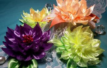 Цветы из лент: георгин из узких лент. МК