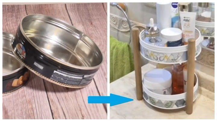 Идея, как превратить жестяные банки из-под печенья в предмет мебели