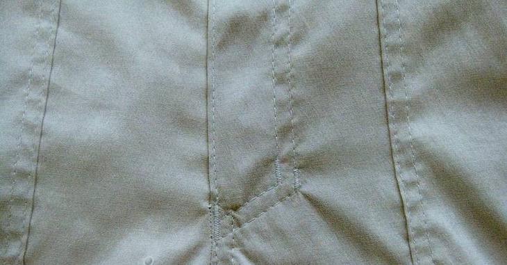 Готовый гульфик на женских брюках, сшитых своими руками, вариант 5