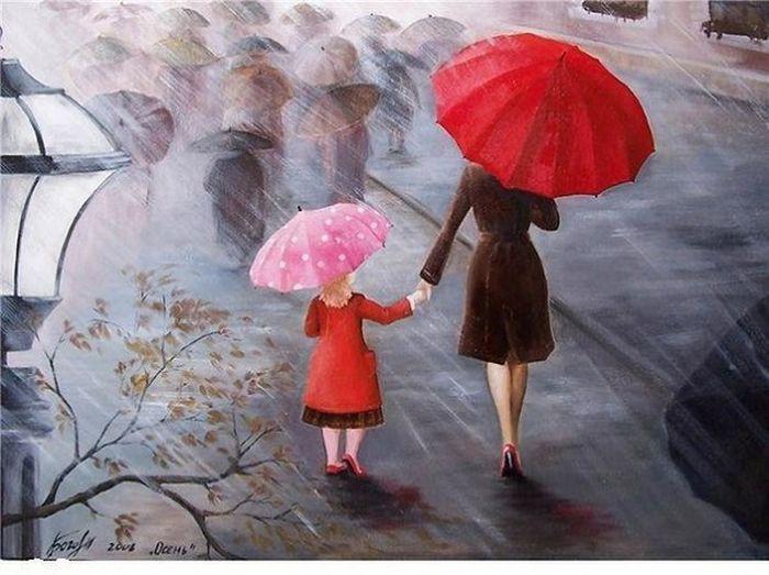 Девочку мама провожала до школы