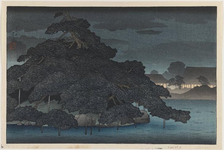 """Хасуи Кавасэ. """"Сосновый остров под ночным дождем """" 1920"""