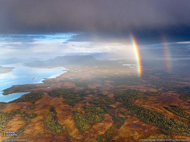 Двойная радуга на Аляске