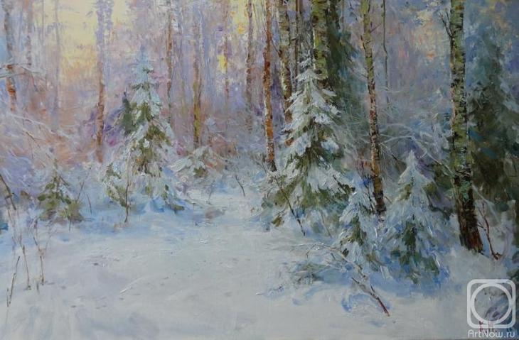 Картина маслом на холсте. Комаров Николай. Солнце в лесу