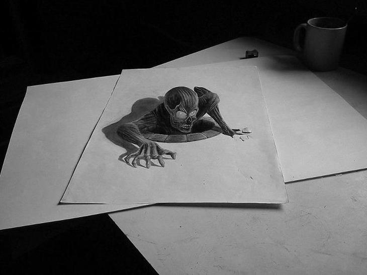 3Ddrawings26 Самые впечатляющие карандашные 3D рисунки от художников со всего света