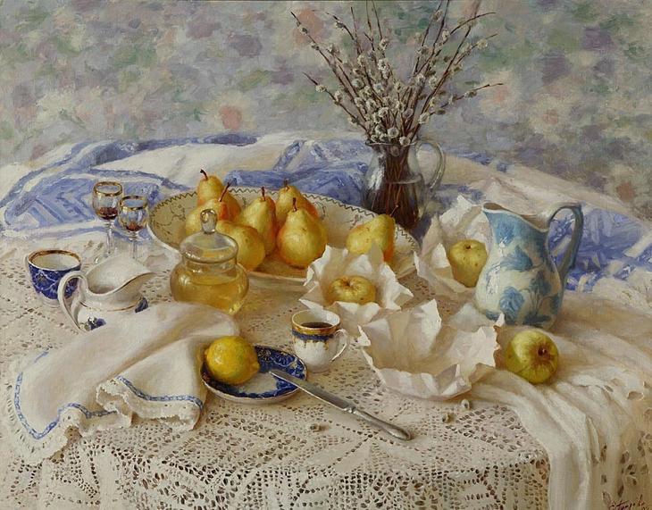 Елена Петрова - Натюрморт с вербой, 2005. Холст, масло.