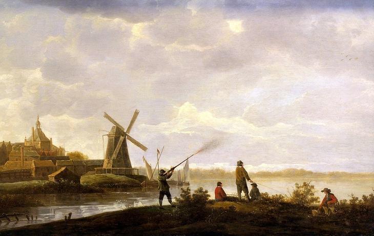 Вид на Дордрехт с охотником и раболовами -- 1650-е, Музей искусств Будапешт