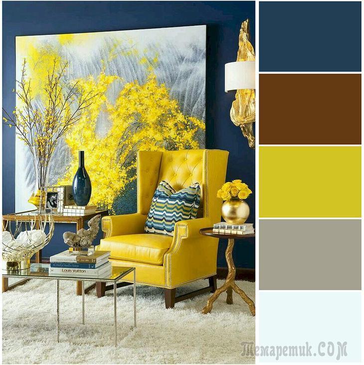 Грамотное сочетание цветов в интерьере: 50 самых различных вариантов