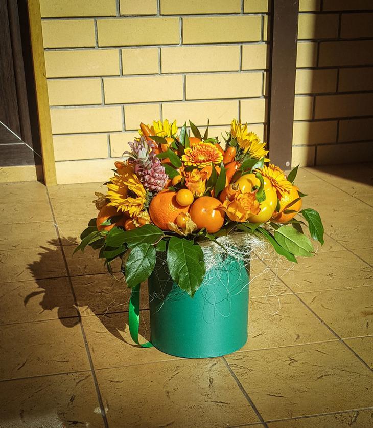 Цитрусовый оранжевый букет в коробке