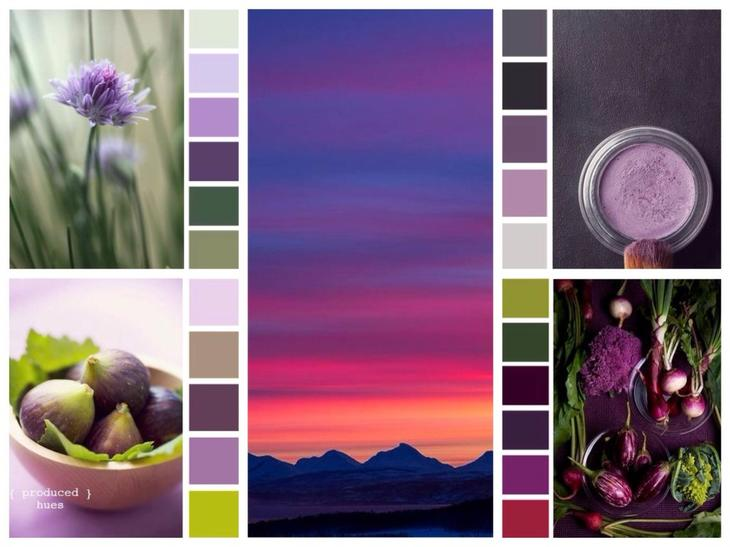 Варианты и сочетания фиолетового цвета