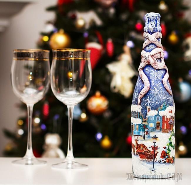 Идеи декупажа бутылок к Новому году