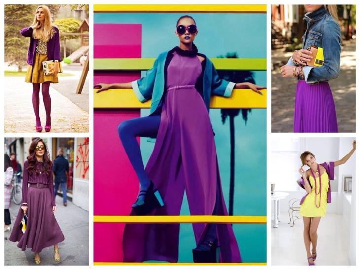 Желтый в комплектах с фиолетовым