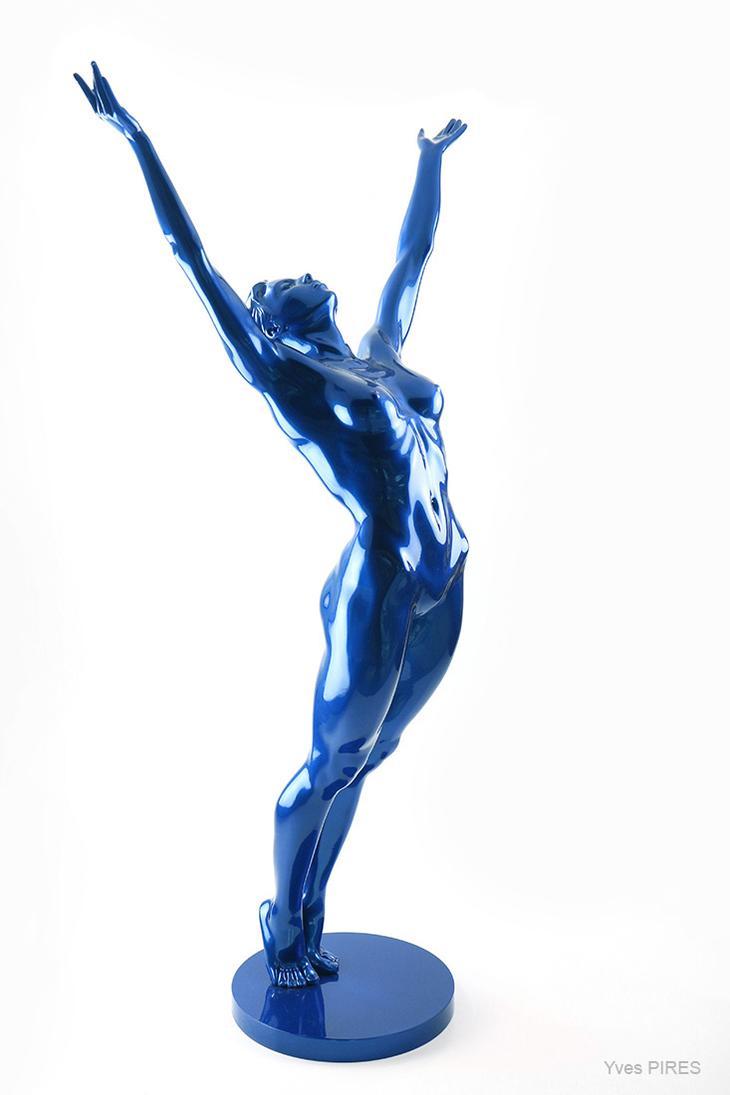 Yves Pires - Sculptures : L'Eveil Nacré Bleu