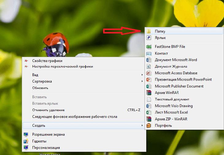 Для того, чтобы создать новую папку, кликаем правой кнопкой мыши и выбираем нужную функцию
