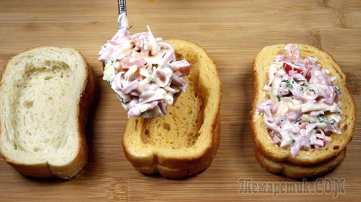 Этот бутерброд покорит вас своей сочностью! Горячий бутерброд-пицца