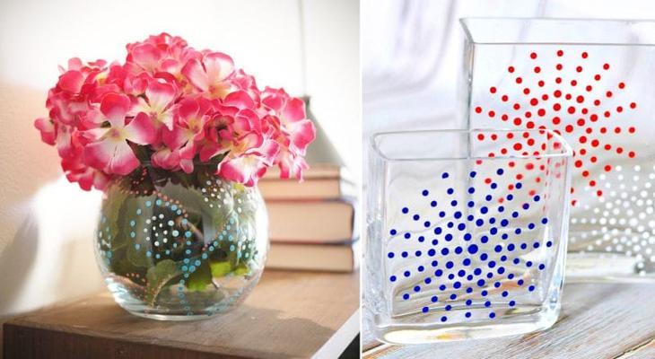 Идеи точечной росписи стеклянной вазы