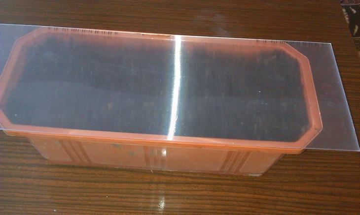 Закрыть ящик с семенами куском стекла