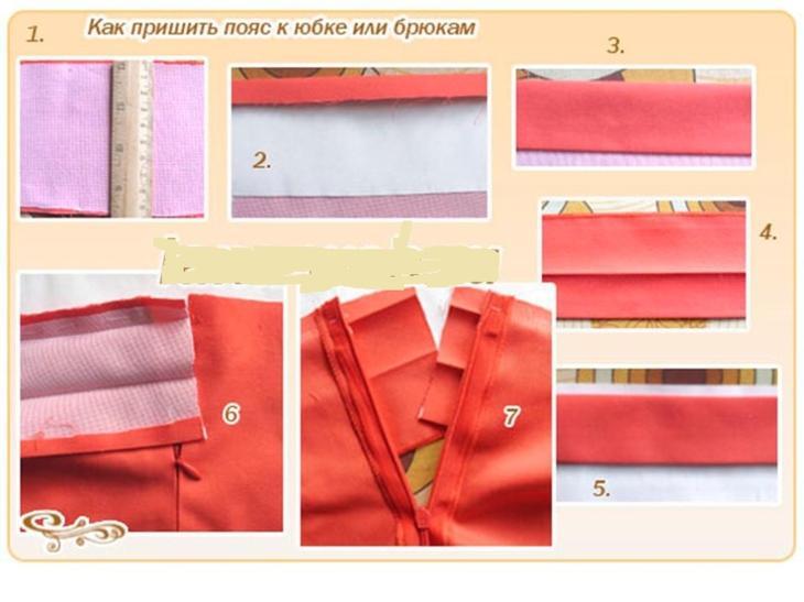 Выкройка пояса для женских брюк, пошитых своими руками, вариант 4