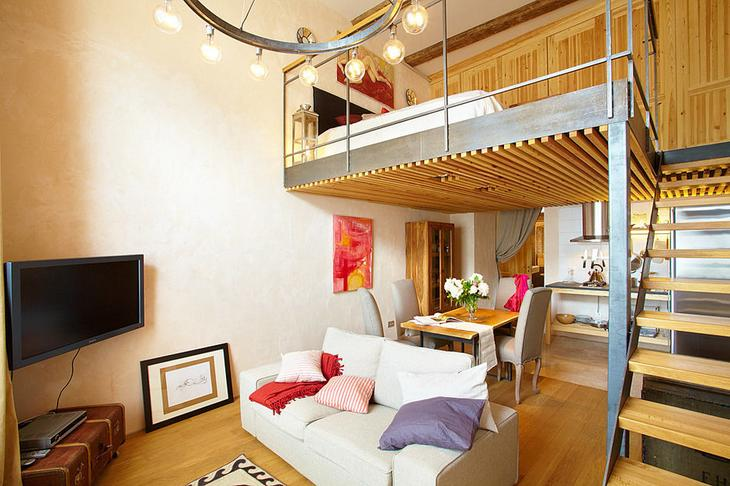 Фотография: Гостиная в стиле Лофт, Малогабаритная квартира, Квартира, Дома и квартиры, Проект недели – фото на InMyRoom.ru