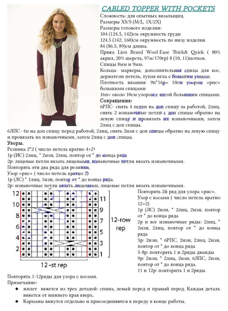 Стильный молодежный белый жилет спицами на девушке, описание и схема, часть 1