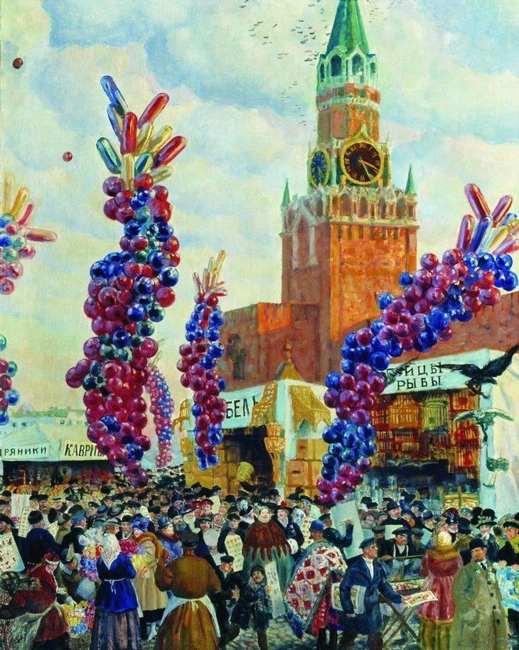 Борис Кустодиев - Вербный торг у Спасских ворот, 1917