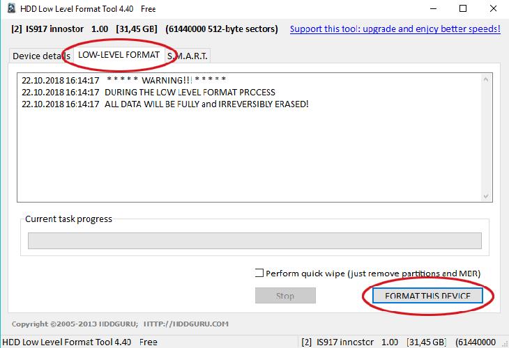 низкоуровневое форматирование флешки - через пк