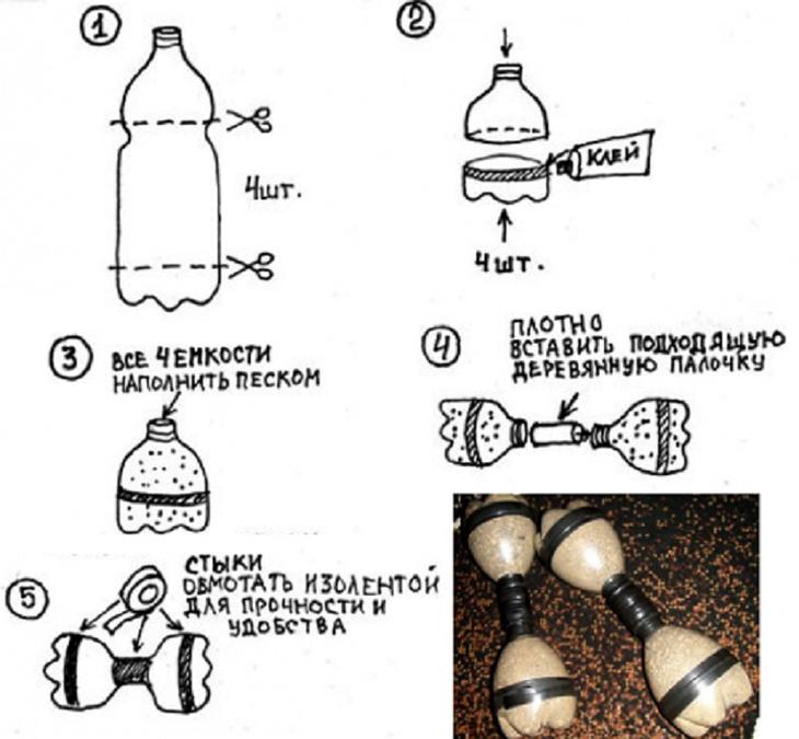 Упражнения для рук дома с бутылками