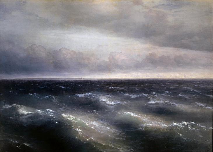 Чёрное море. На Чёрном море начинает разыгрываться буря 1881 149х208. Иван Константинович Айвазовский