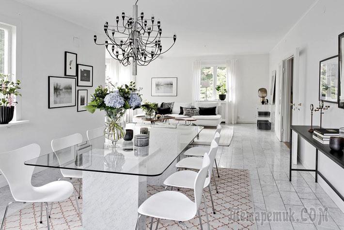 Красивый скандинавский дизайн загородного дома в Швеции