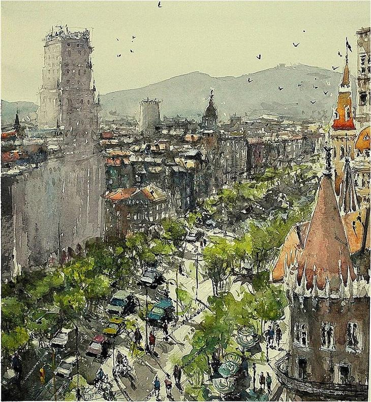 Акварели Maximilian Damico: городские пейзажи