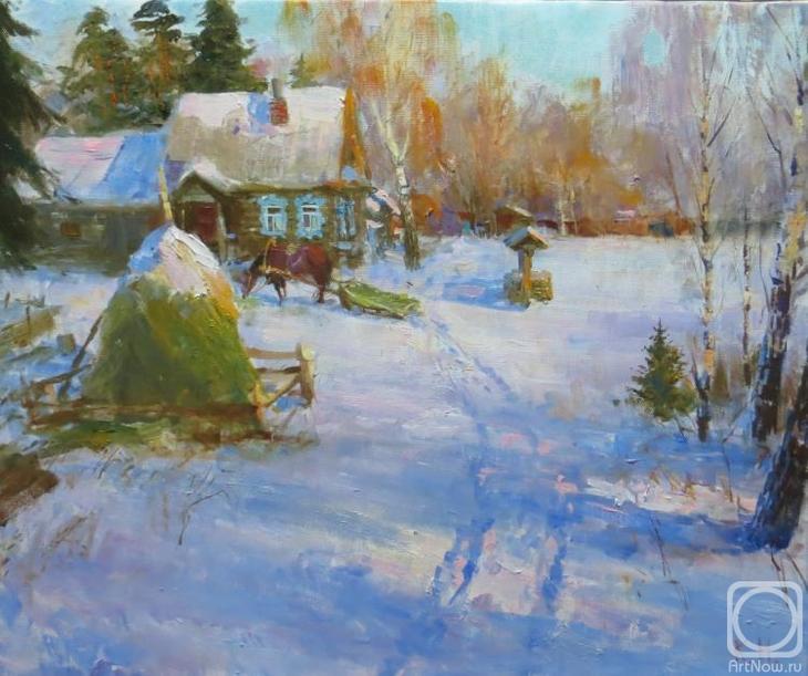 Картина маслом на холсте. Комаров Николай. Зимняя опушка
