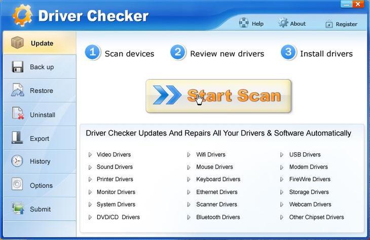 Интерфейс программы Driver Checker