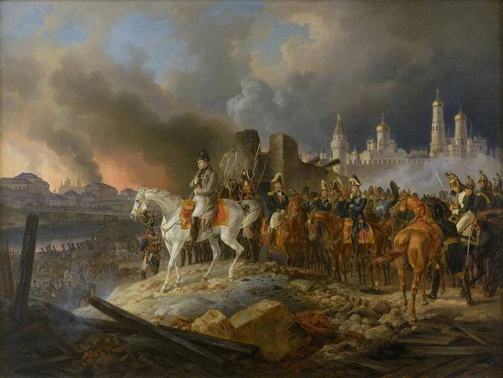 Наполеон Бонапарт в охваченной пожаром Москве /© wikimedia.org