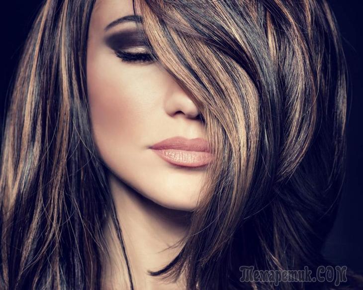 Модные варианты мелирования на темные волосы