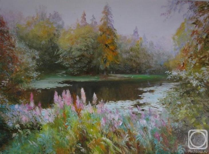 Картина маслом на холсте. Комаров Николай. Заросший пруд
