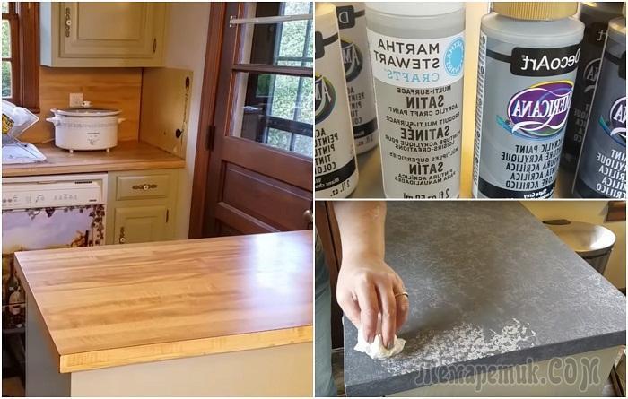 Как с помощью краски и пакета превратить деревянную столешницу в стильную «гранитную»