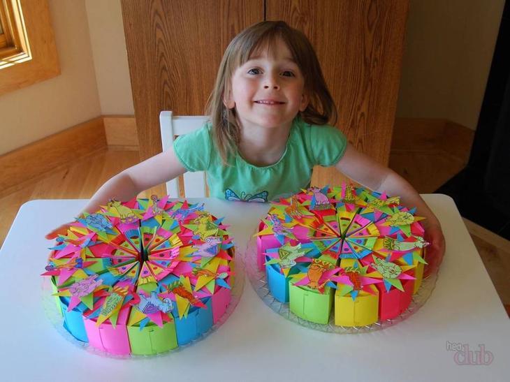 Торт на день рождения из бумаги своими руками