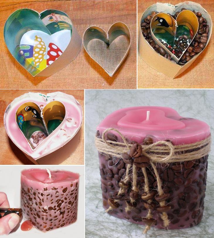свеча в виде сердца с кофейными зернами