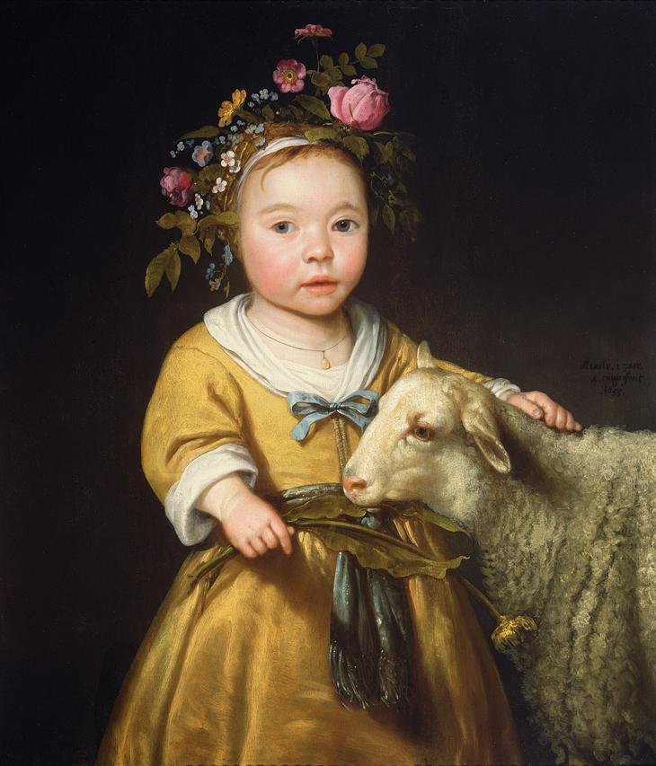 Девочка с овцой -- 1655, 65х55, Частное собрание