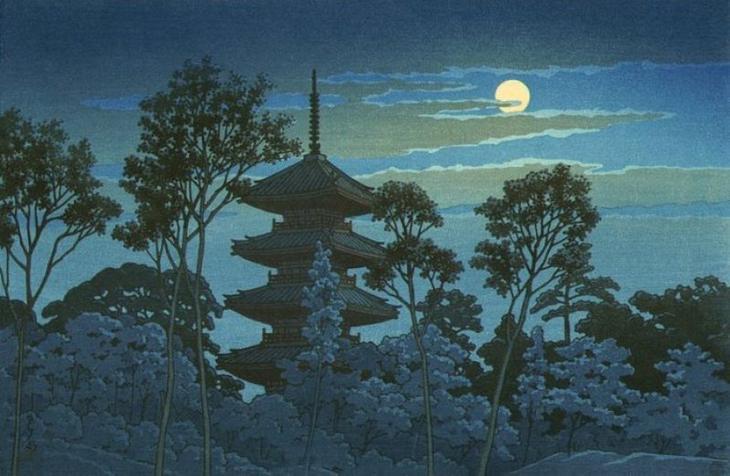"Хасуи Кавасэ. "" Пагода храма Икегами Хонмондзи """