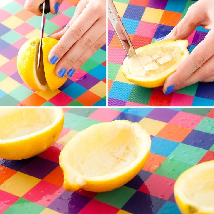 Половинка лимона будет служить подсвечником для вашей свечи