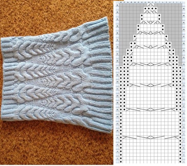 Узоры и рисунки для женского шарфа трубы спицами