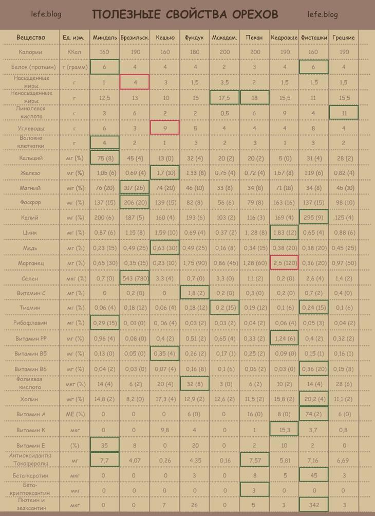 Лучшие орехи - польза и вред для организма (таблица)
