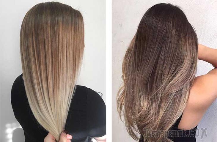 Растяжка цвета на коротких волосах