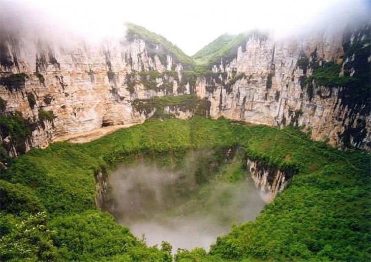 Небесная яма, Китай Фаты, дыры, земля, интересное, природа, провалы, страшно, удивительное