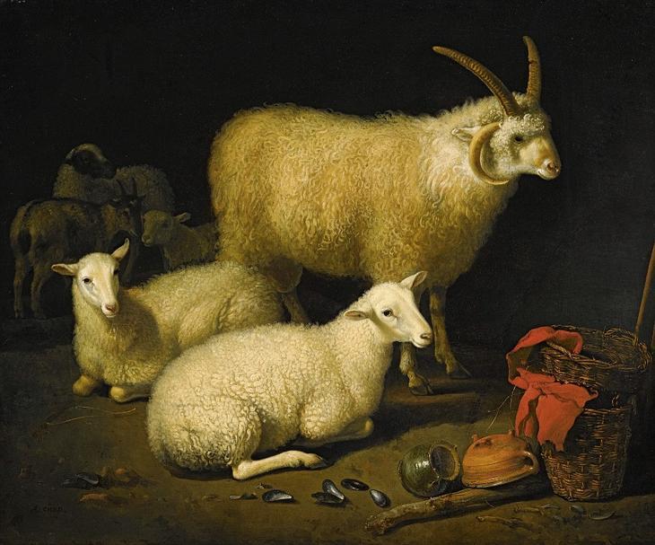 Овцы в хлеву -- 41х50, Частное собрание