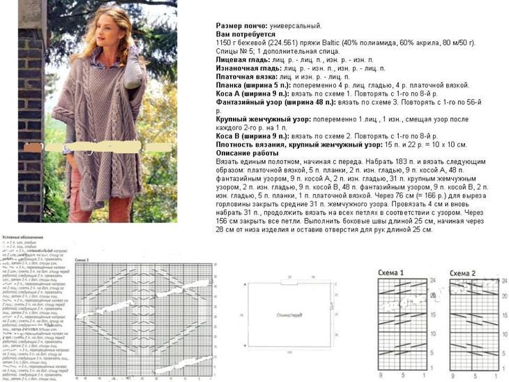 Схема и описание вязания спицами женского жилета пончо, пример 1
